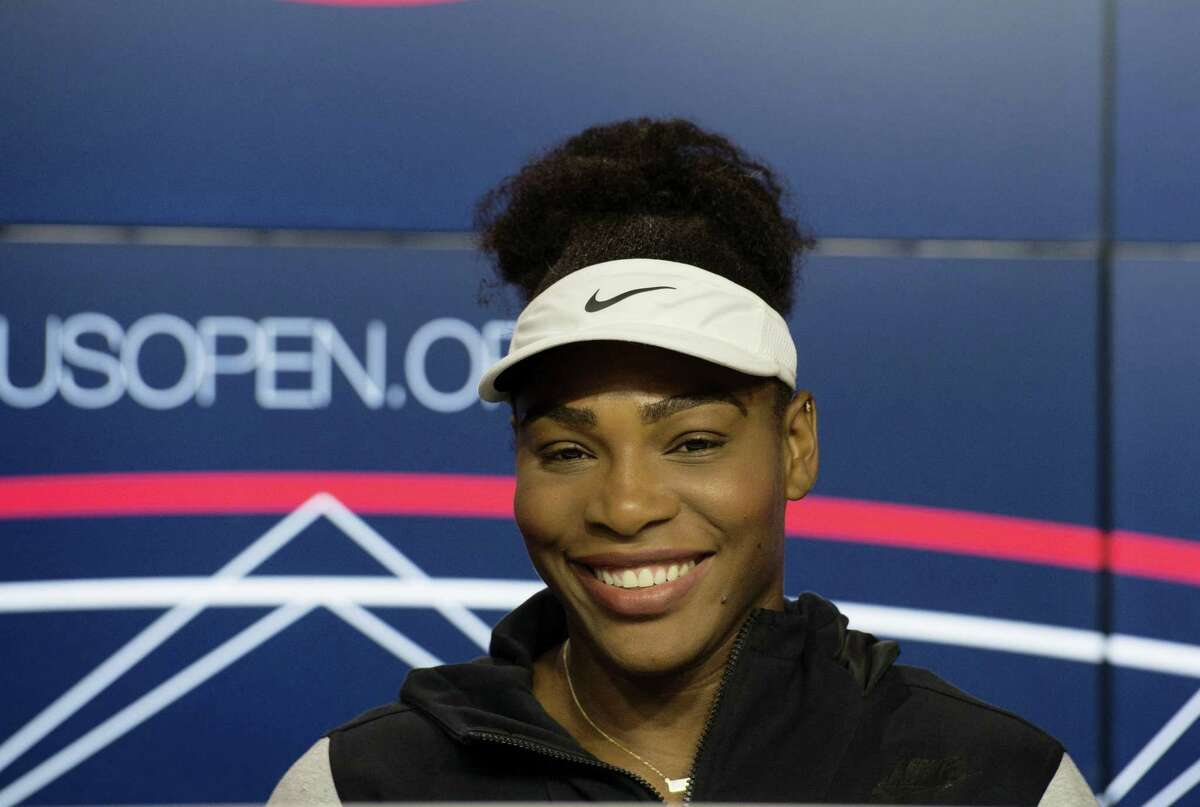 Serena Williams speaks during a media availability for the U.S. Open on Friday.