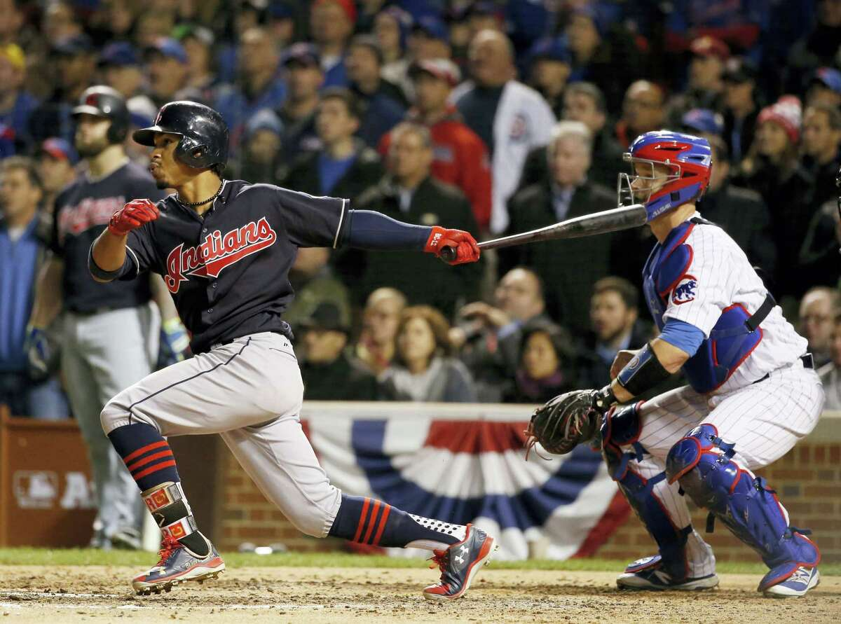 AP Photo/Nam Y. Huh Cleveland Indians' Francisco Lindor hits a RBI single during the sixth inning of Game 5 of the Major League Baseball World Series against the Chicago Cubs on Oct. 30, 2016 in Chicago.