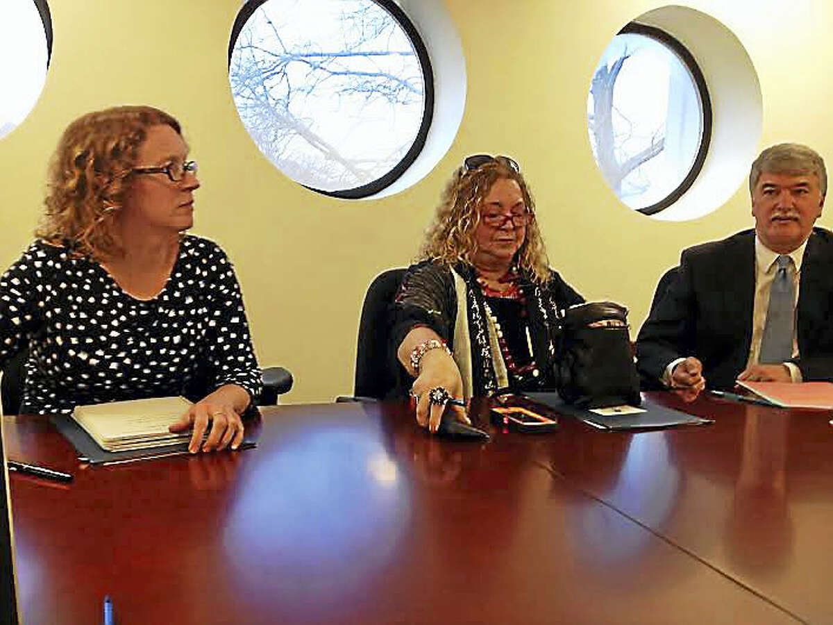 Representatives of the Connecticut Education Association, from left, Kate Field, Sheila Cohen and Donald Williams, meet with the New Haven Register editorial board.