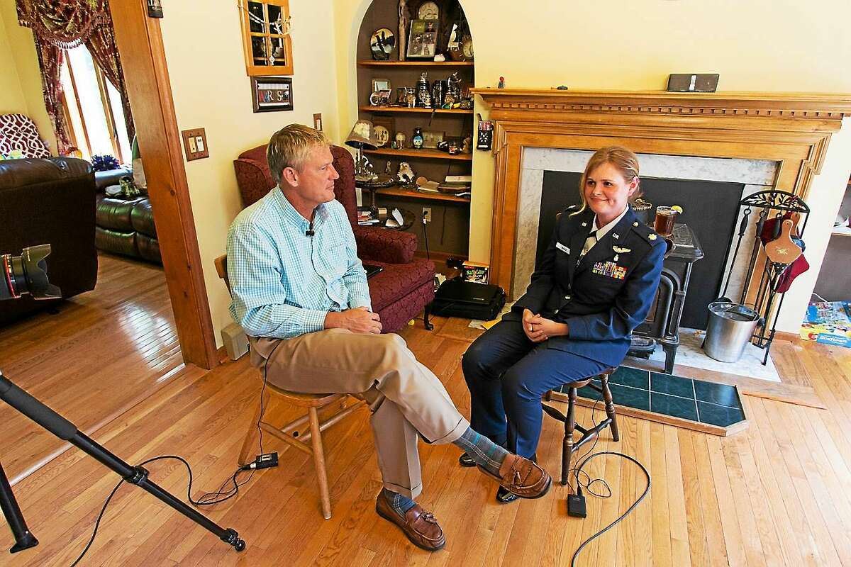 State Sen. Kevin Witkos interviews Major Leah Ward in her Colebrook home.