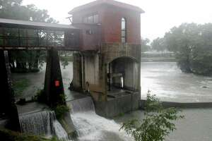 The Guadalupe River in Seguin remained well below record levels as Hurricane Harvey pushed through the region Saturday Aug. 26, 2017.
