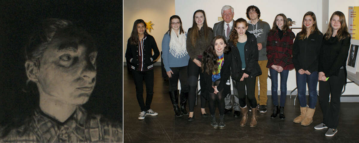 Contributed photoThe winners of the Congressional Art Competition are joined by Congressman John Larson; left, Mya Concepcion's winning piece.