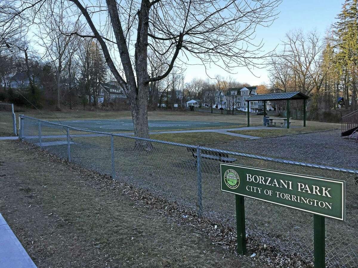 The current basketball court at Borzani Park in Torrington.