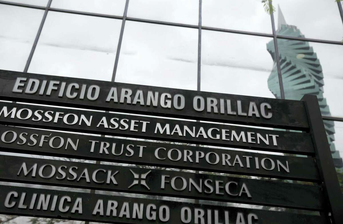 A marquee of the Arango Orillac Building lists the Mossack Fonseca law firm in Panama City on April 7, 2016. Earlier on Wednesday the Panamanian based law firm filed a complaint with Panamanian prosecutors, alleging that the 11.5 million documents revealed in the leak were stolen by a hacking attack from somewhere in Europe.