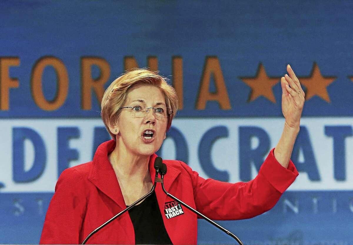 U.S. Sen. Elizabeth Warren, D-Mass., speaks at the California Democrats State Convention in Anaheim, Calif., on Saturday, May 16, 2015.