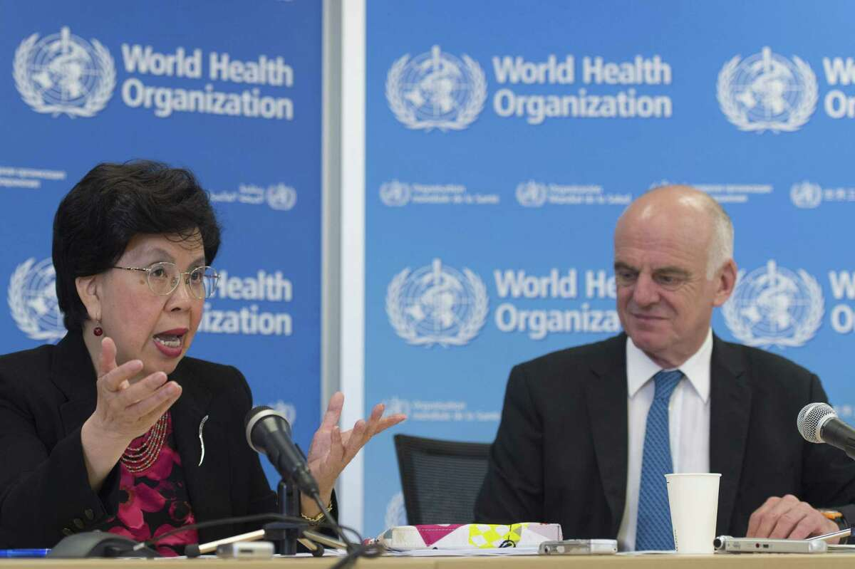China's Margaret Chan, director general of the World Health Organization, WHO, left, and David Nabarro, UN special envoy on Ebola, present an update during a press conference Friday at the headquarters of the WHO in Geneva, Switzerland.