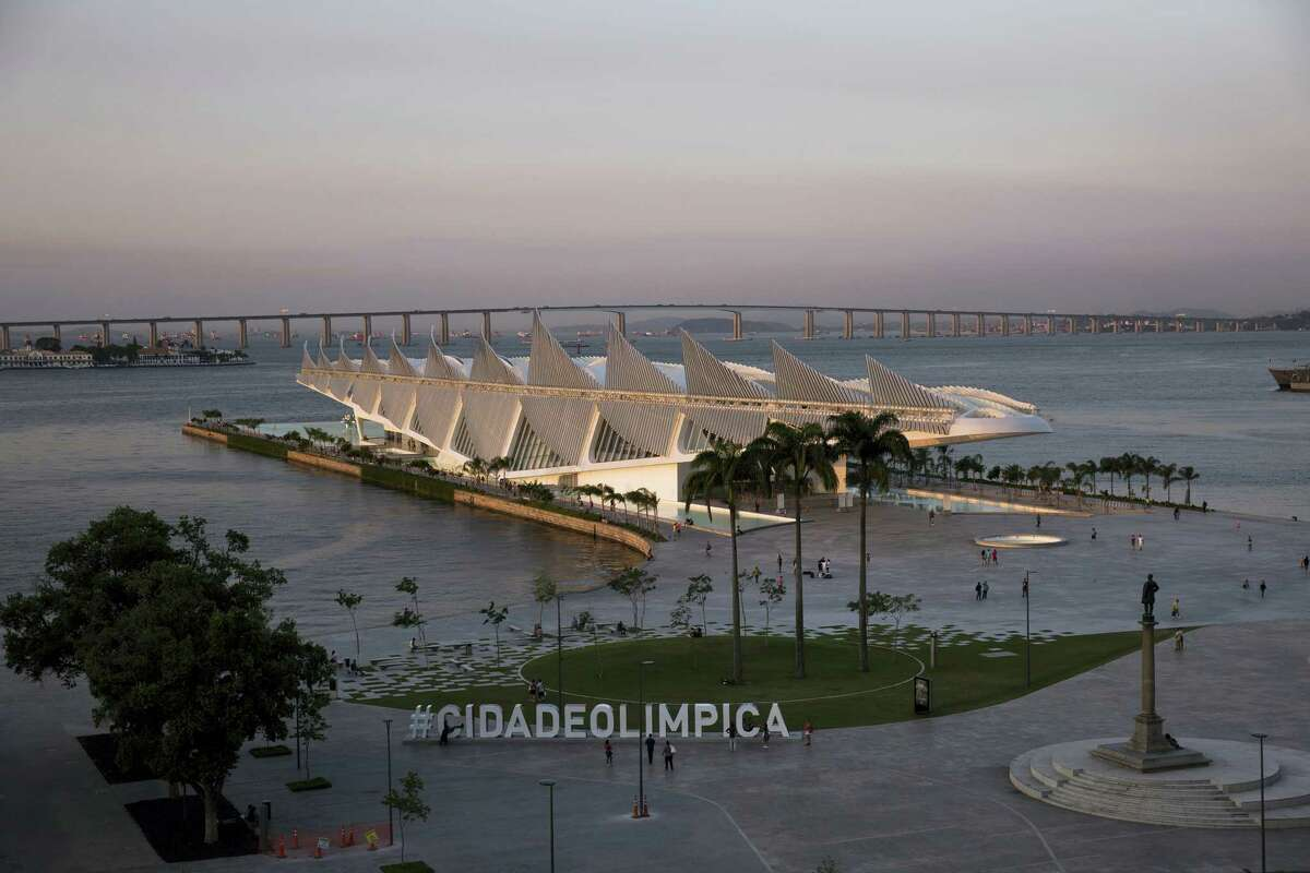 The Museum of Tomorrow is lit by the setting sun in the port area of Rio de Janeiro, Brazil. The United States men's and women's basketball teams will be staying on a cruise ship in the harbor during the Olympics.