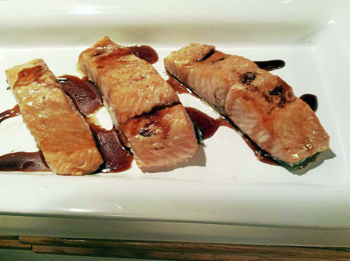 Honey pepper sauce goes great with salmon, regardless of how the fish is prepared.