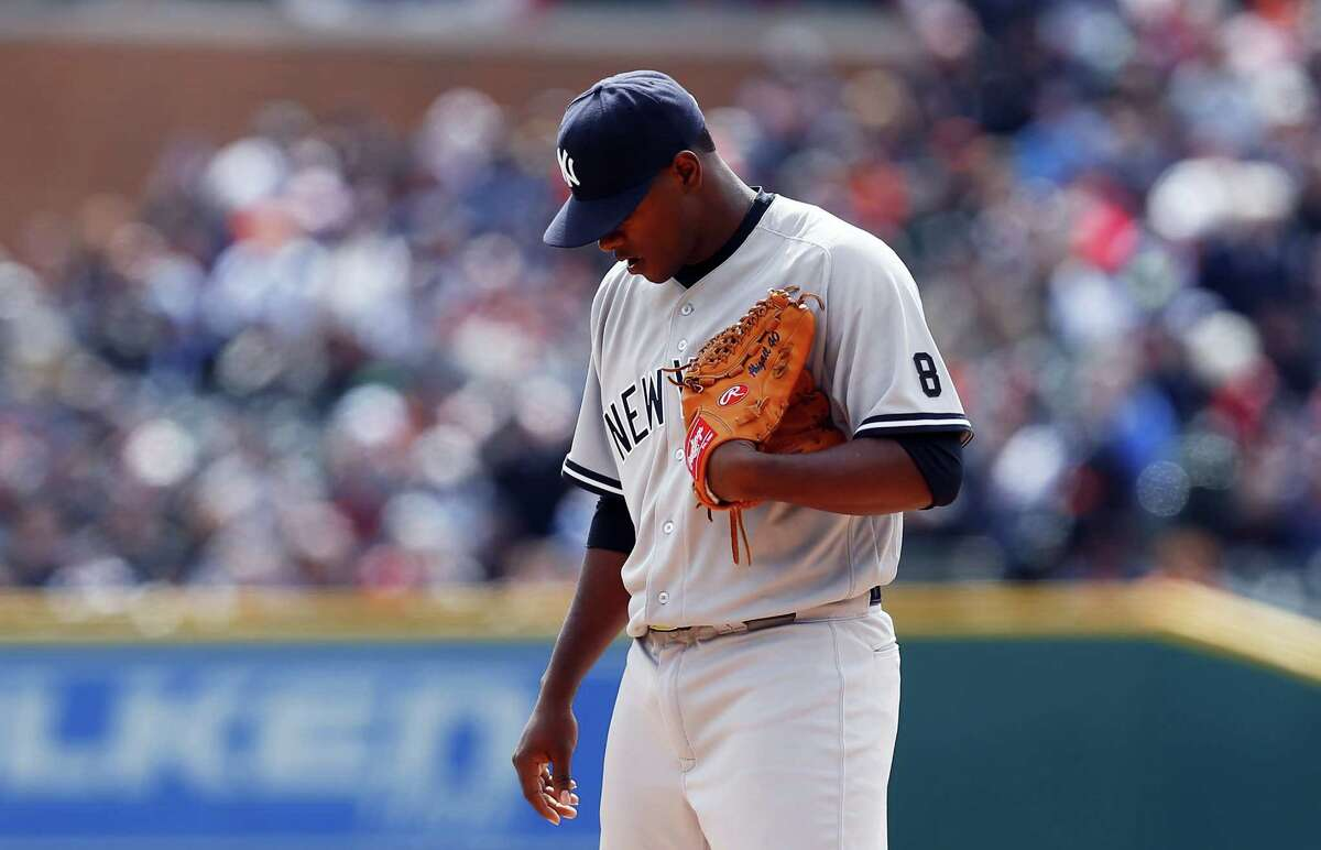 Yankees pitcher Luis Severino pauses against the Tigers in the first inning on Friday.