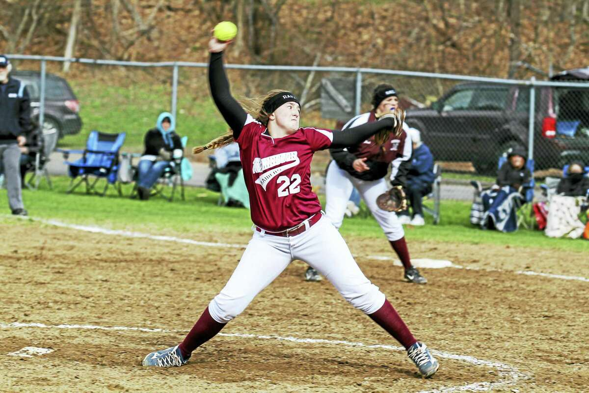 Photo by Marianne KillackeyTorrington pitcher Ali Dubois matched Holy Cross' Sarah Lawton with 15 strikeouts apiece in the Crusaders' 2-1 win at Torrington High School Friday afternoon.