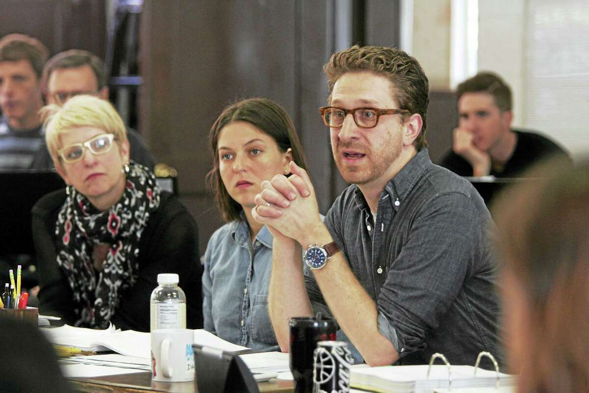"""Daniel Goldstein, right, in a Goodspeed table reading of """"Anything Goes."""""""