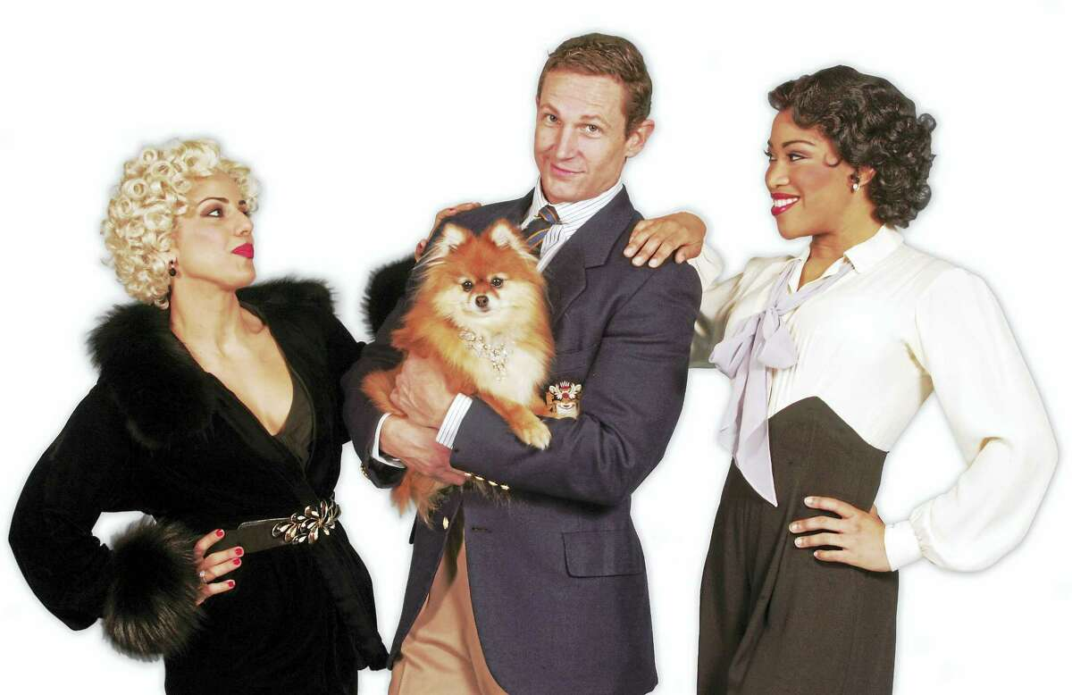 From left, Desiree Davar, David Harris and Rashidra Scott. The dog Trixie plays Cheeky.