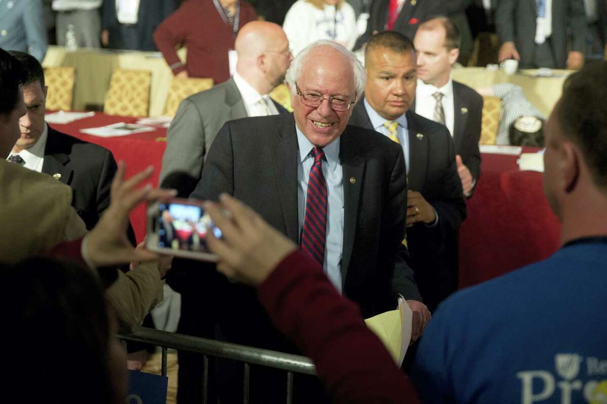 Democratic presidential candidate, Sen. Bernie Sanders, I-Vt. meets with attendees during a campaign stop, Thursday, April 7, 2016, at the Pennsylvania AFL-CIO Convention in Philadelphia.