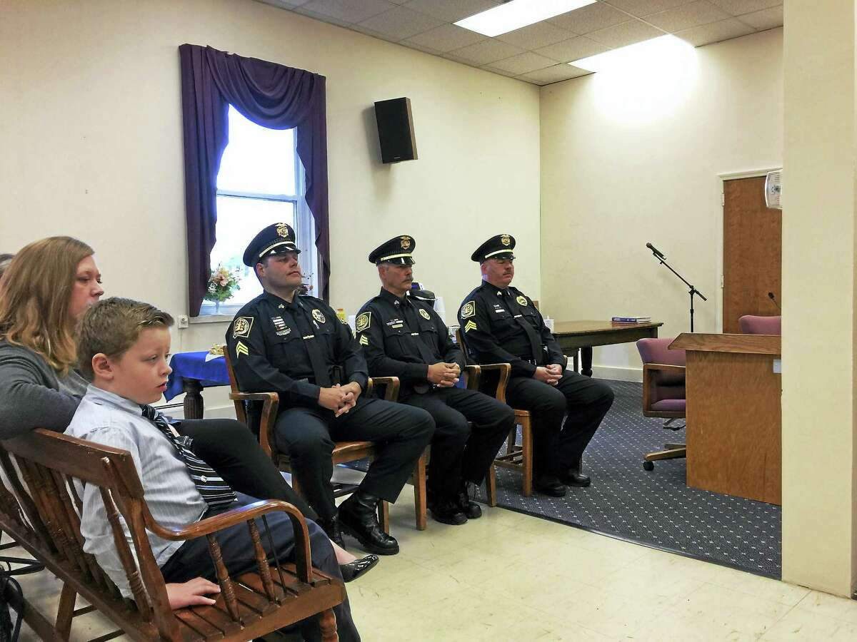 Winsted police officers Christopher Roy, Mark Blanchette, and Peter DeLouis were promoted to sergeants during a ceremony on Tuesday.