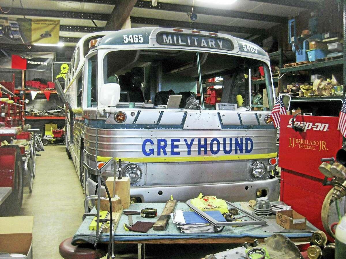 Photo by John TorsielloA Greyhound bus being restored.