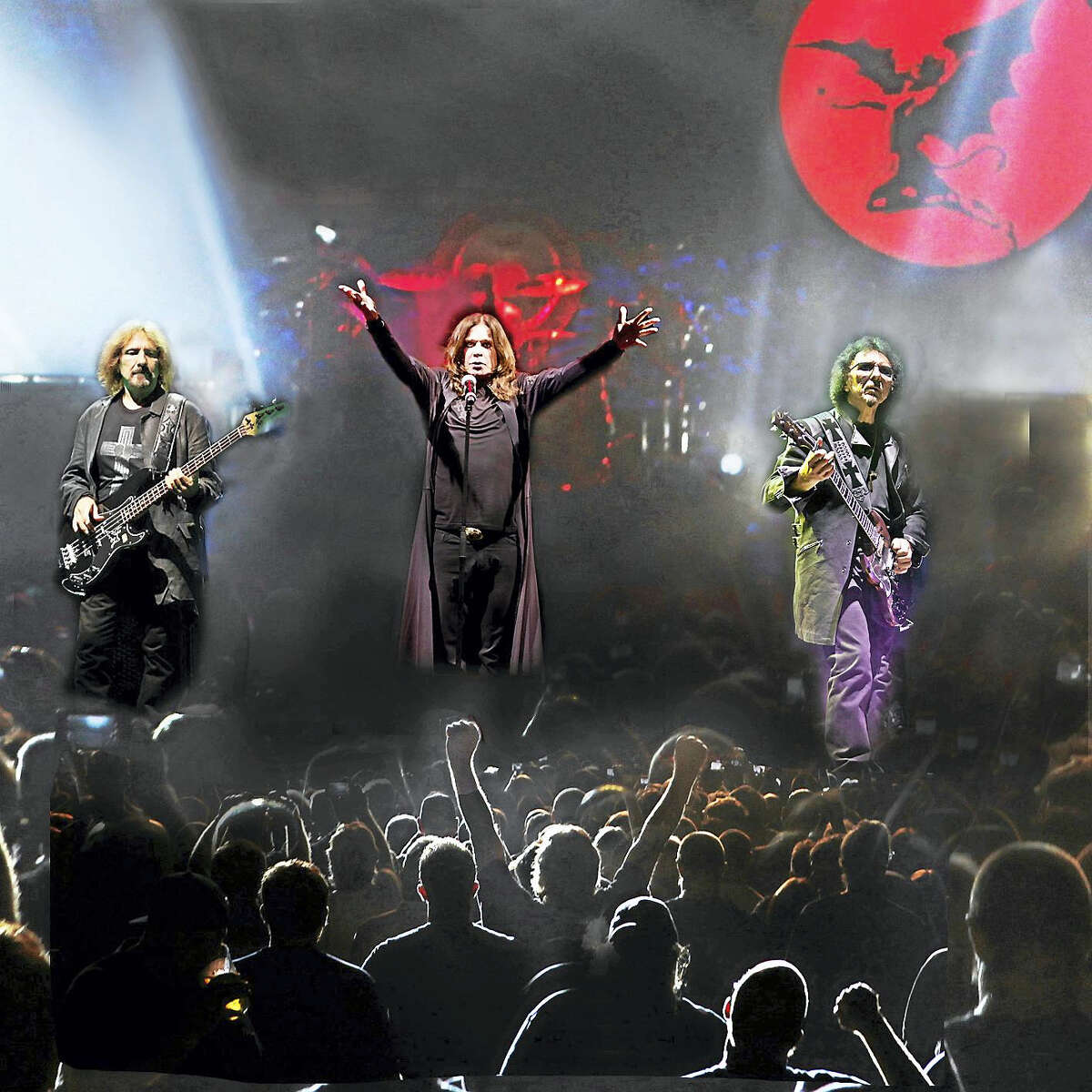 Ozzy Osbourne, center, with Black Sabbath on tour.