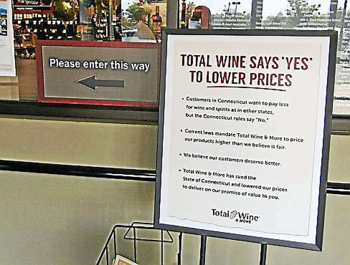 This sign sits in the lobby of Total Wine & More in Manchester.