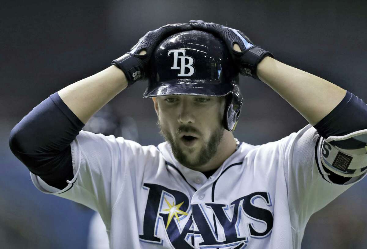 Tampa Bay'S Steven Souza Jr. reacts to making the final out in the team's 2-1 loss to the Boston Red Sox Tuesday.