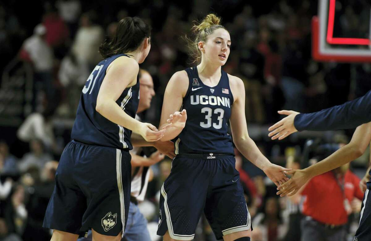 UConn's Katie Lou Samuelson (33) is congratulated after the Huskies beat Maryland 87-81 on Thursday night in College Park, Md.