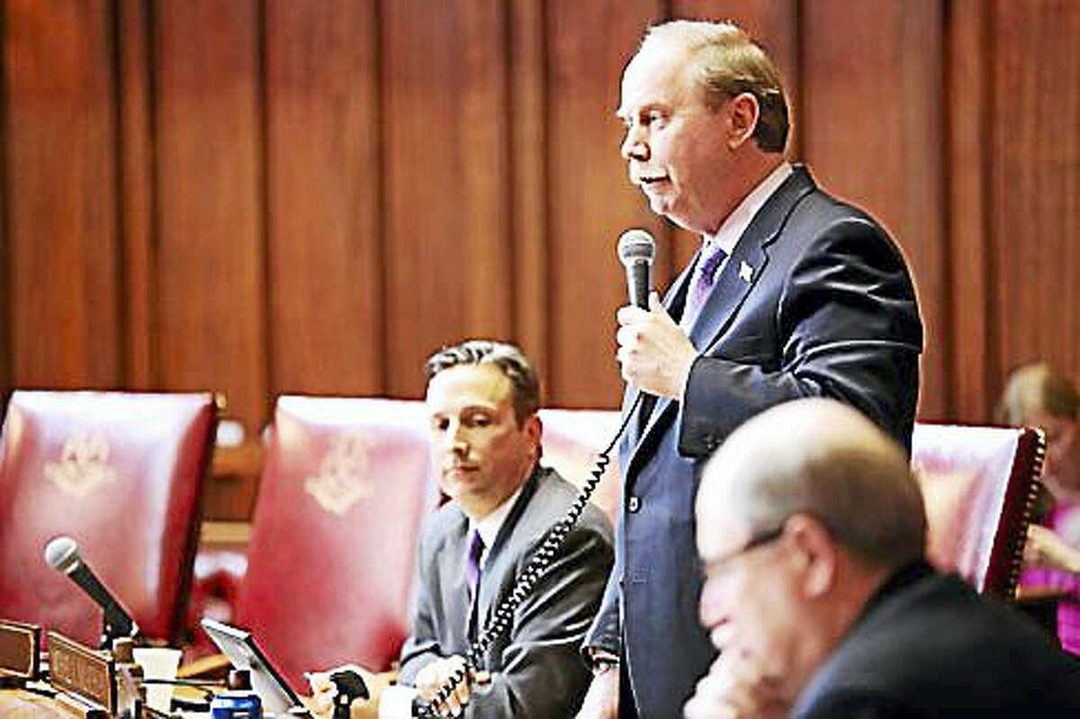Sen. Michael McLachlan opposes the resolution as Majority Leader Bob Duff listens.