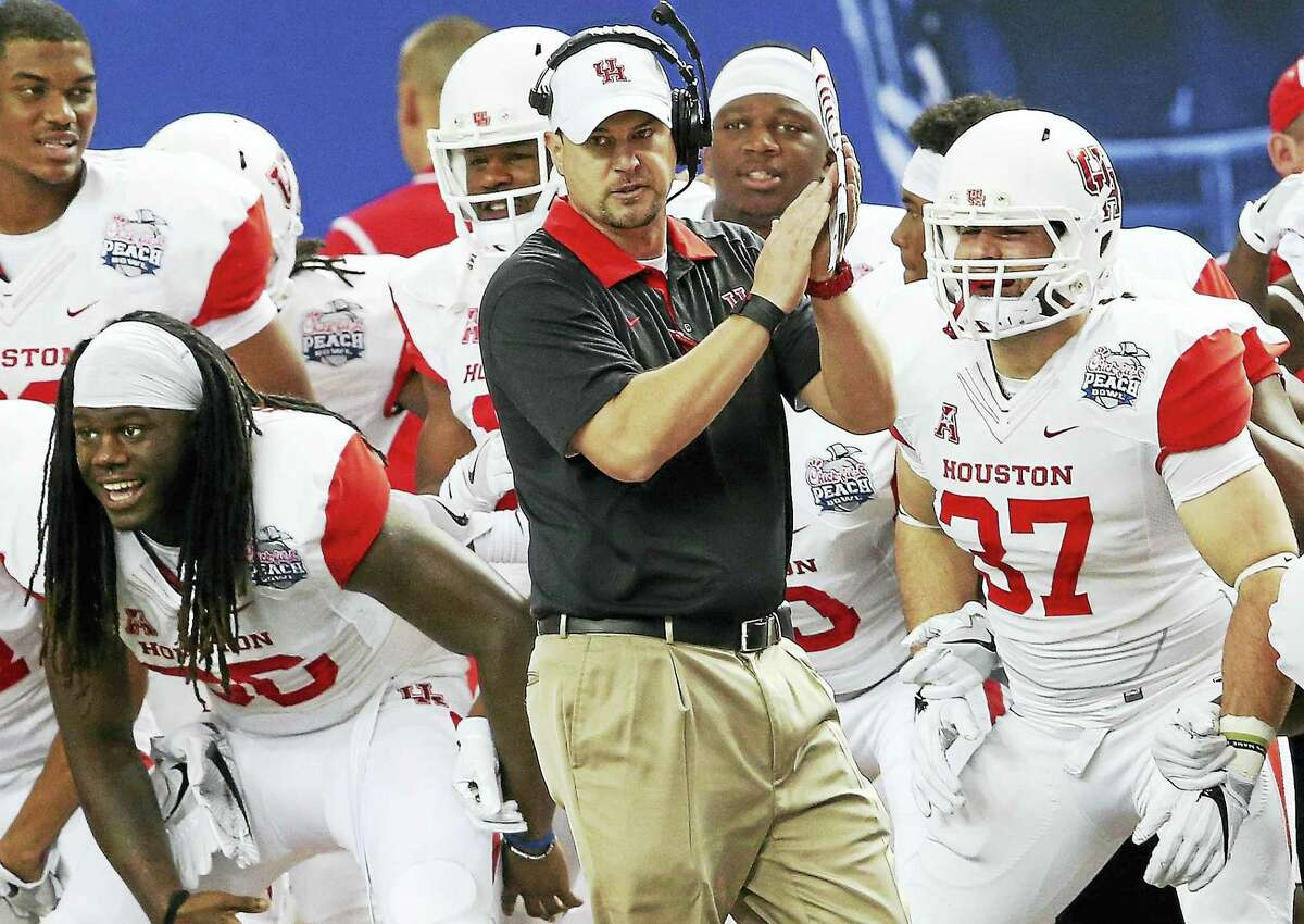 Coach Tom Herman and Houston will look to defend their American Athletic Conference title this season.