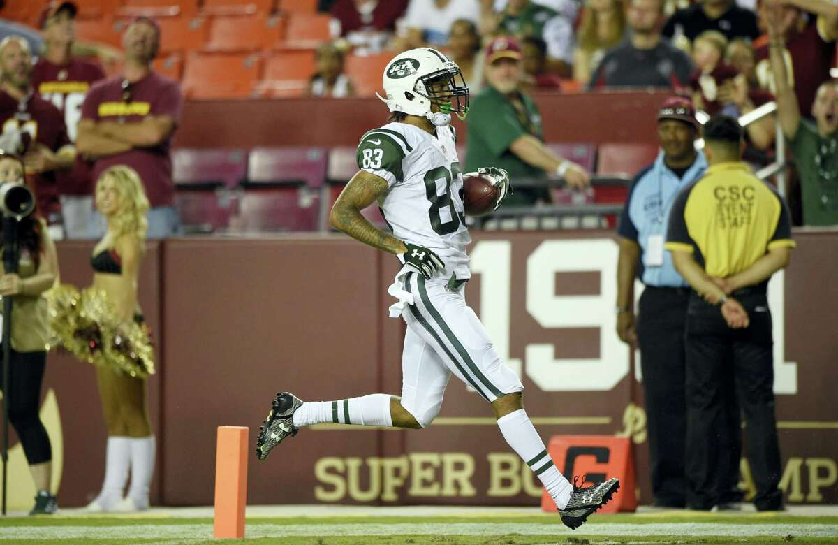 Jets wide receiver Robby Anderson crosses the goal line for a touchdown during the second half of a preseason game against the Washington Redskins.