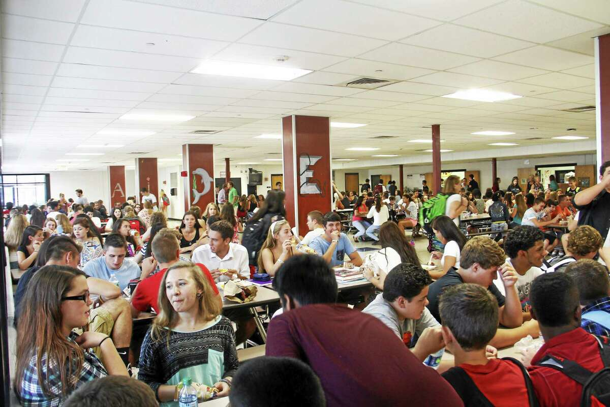 File Photo - The Register Citizen Torrington High School students at lunch on Aug. 27, the first day of the 2014-15 school year.