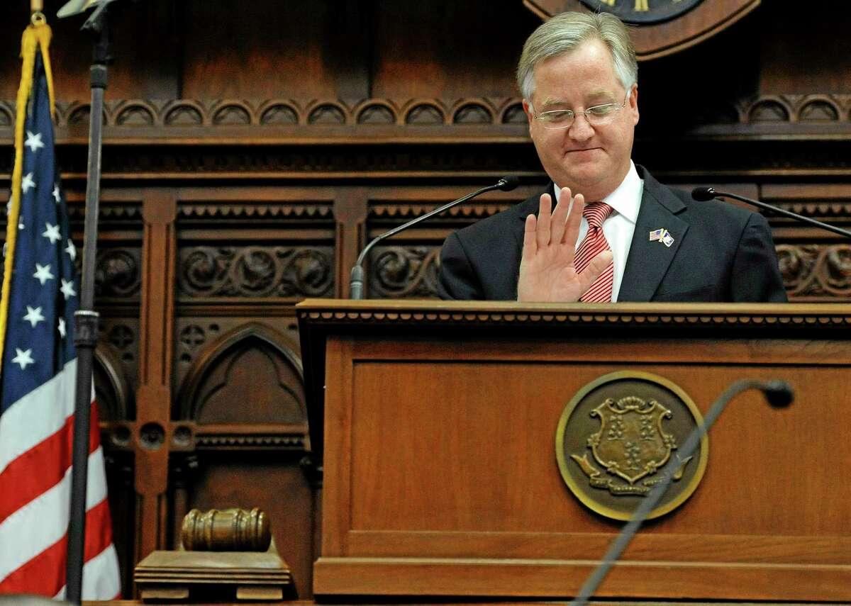 House Speaker Brendan Sharkey gestures while speaking at the Capitol in Hartford, Conn. on Jan. 9, 2013.