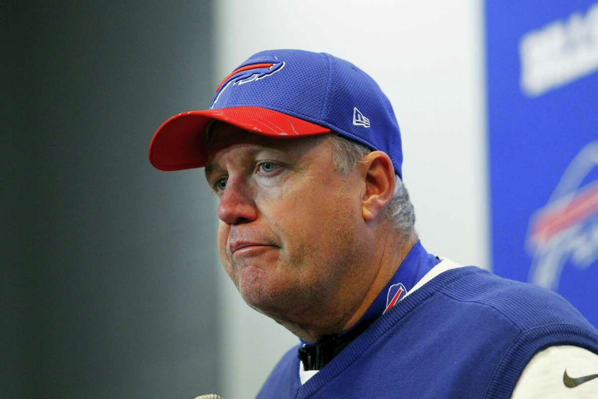 Buffalo Bills head coach Rex Ryan listens to a question during a news conference after an NFL football game against the Miami Dolphins Saturday in Orchard Park, N.Y. The Dolphins won 34-31.
