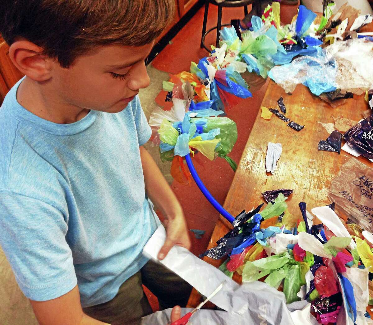 Contributed photoLitchfield Montessori School students create art from trash for a new show at the Oliver Wolcott Library, opening Jan. 5.