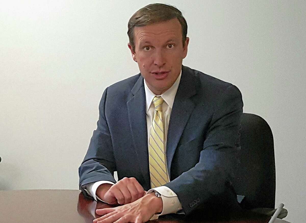 U.S. Sen. Chris Murphy, D-Conn., makes a point during an editorial board meeting with the New Haven Register.