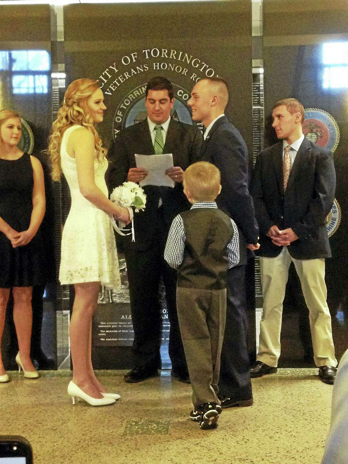 Emily M. Olson - The Register Citizen Hailey Rodger and U.S. Air Force Airman Nick Simonin were married Tuesday at City Hall, in a ceremony conducted by former mayor Ryan Bingham.