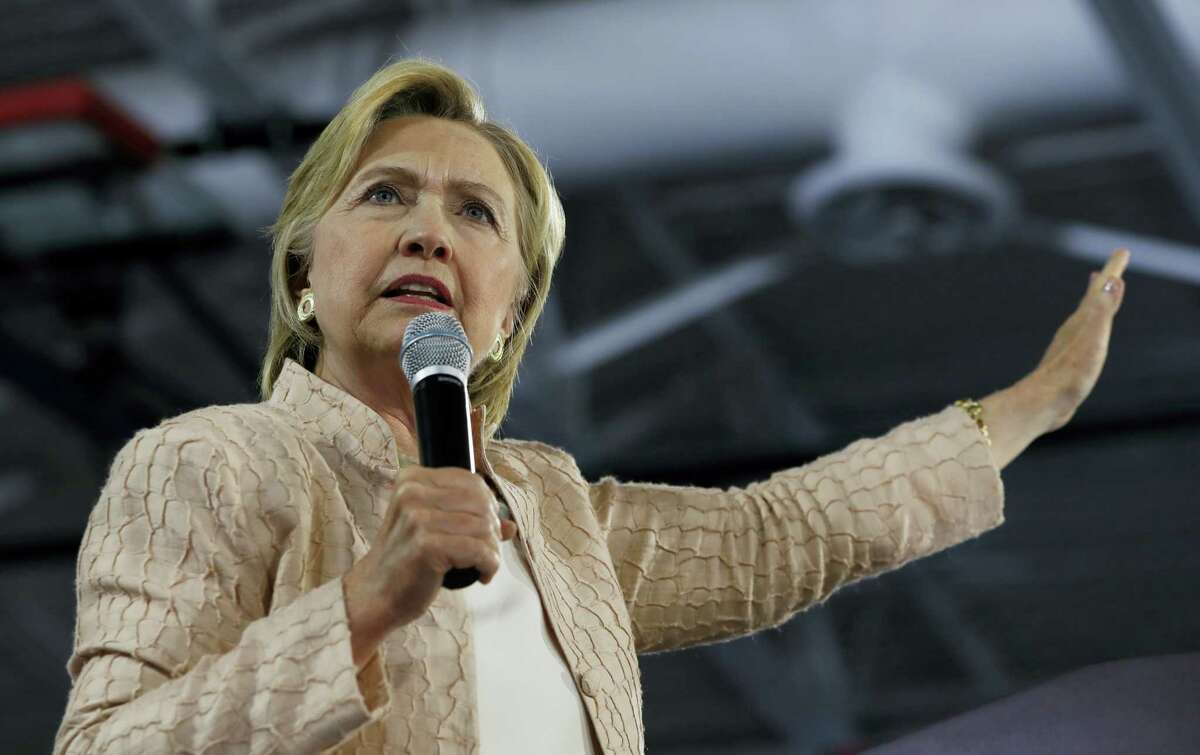 In this Aug. 17, 2016 photo, Democratic presidential candidate Hillary Clinton speaks at campaign event at John Marshall High School in Cleveland.