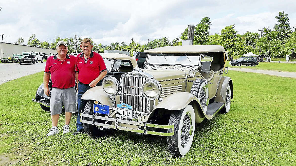 Glenn Royals, 61, and John Grunder, 81, respectively president and founder of the Litchfield Hills Historical Auto Club, exhibited Grunder's prize-winning tan 1929 Stutz Model 6 Blackhawk.