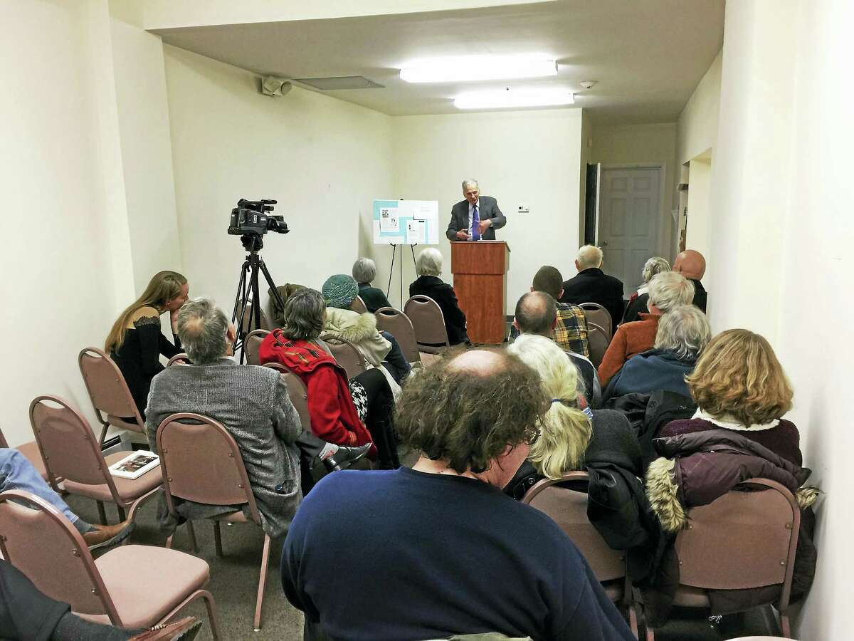 """Ben Lambert — The Register Citizen Ralph Nader came to Winsted Thursday evening to discuss his latest book, """"Animal Envy."""""""