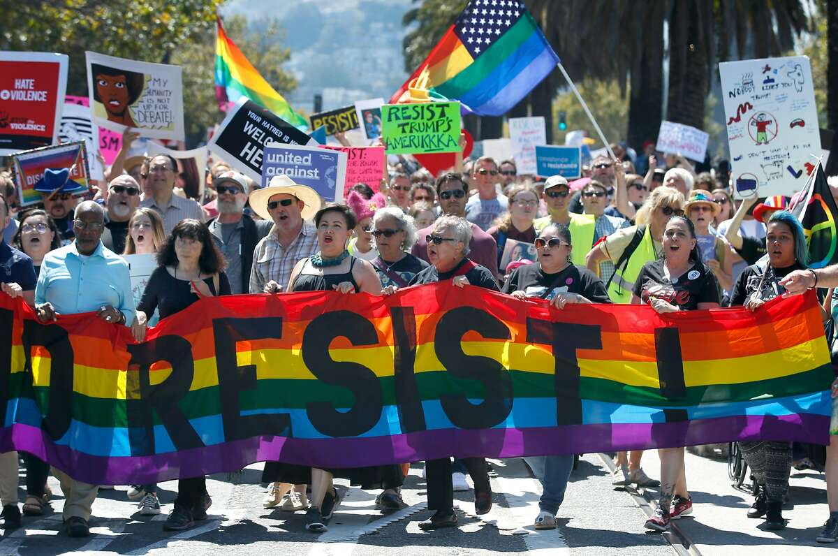 Thousands of demonstrators march down Marlet Street from the Castro District to a rally against hate and bigotry at Civic Center Plaza in San Francisco, Calif. on Saturday, Aug. 26, 2017.