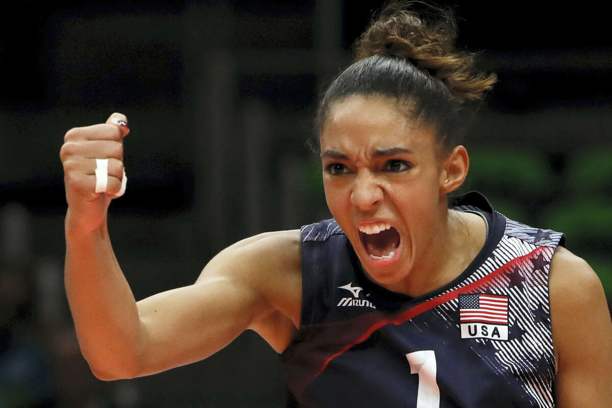 United States' Alisha Glass celebrates during a women's bronze medal volleyball match against the Netherlands at the 2016 Summer Olympics in Rio de Janeiro, Brazil, Saturday, Aug. 20, 2016.
