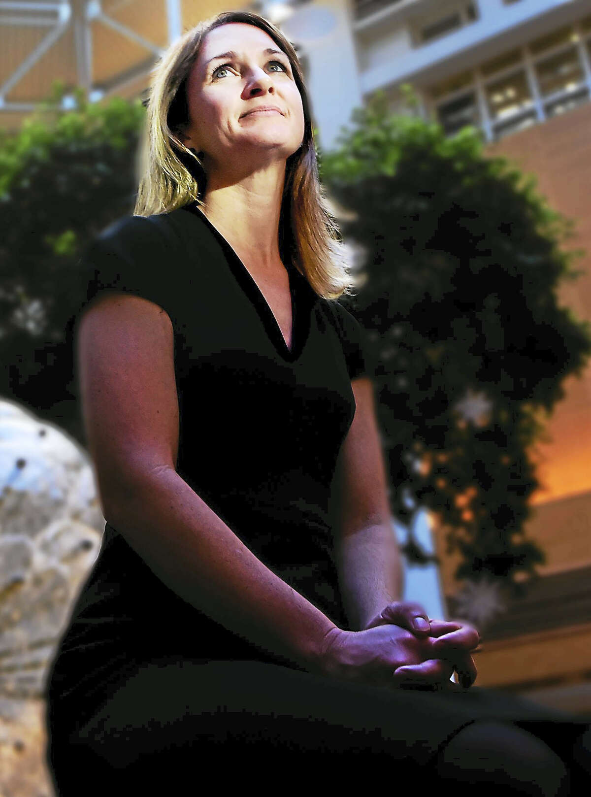 Dr. Tara Sanft, M.D., Breast Medical Oncologist, Assistant Professor of Medicine, and Director of the Yale Cancer Center Survivorship in the Atrium of Yale New Haven Hospital Monday, Dec. 19, 2016.