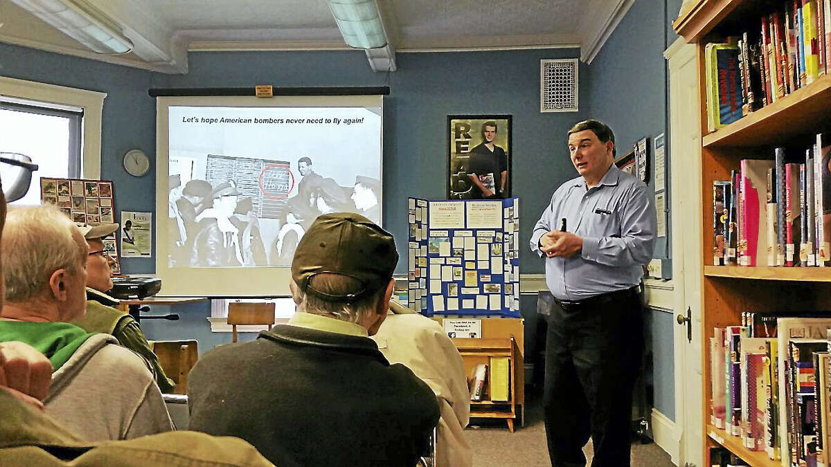 "Military historian and author John Cilio gave a presentation on ""Bomber Planes of World War II"" at the Beardsley & Memorial Library in Winsted on Saturday morning."