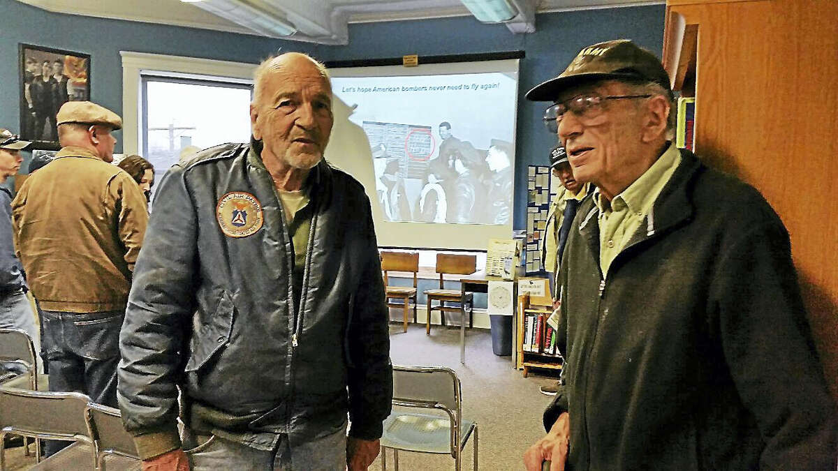 "Richard Bedell and Ed DesPlanes, both of Winsted and both Korean War veterans, attended the ""Bomber Planes of World War II"" presentation at the Beardsley & Memorial Library on Saturday morning. Bedell's father designed wartime posters while his wife wrote a book on the Second World War."