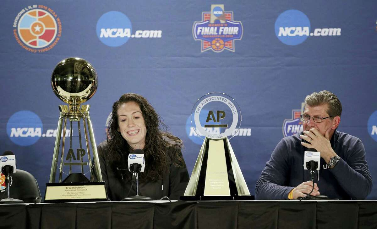 UConn's Breanna Stewart, left, and coach Geno Auriemma respond to questions during a news conference at the women's Final Four in Indianapolis on Saturday.