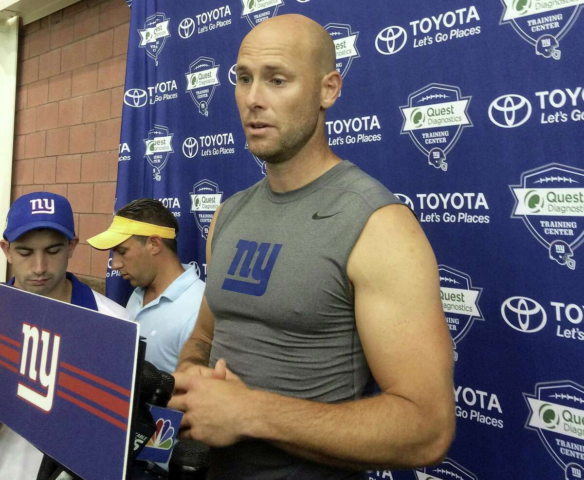 Giants kicker Josh Brown speaks with reporters on Thursday in East Rutherford, N.J.
