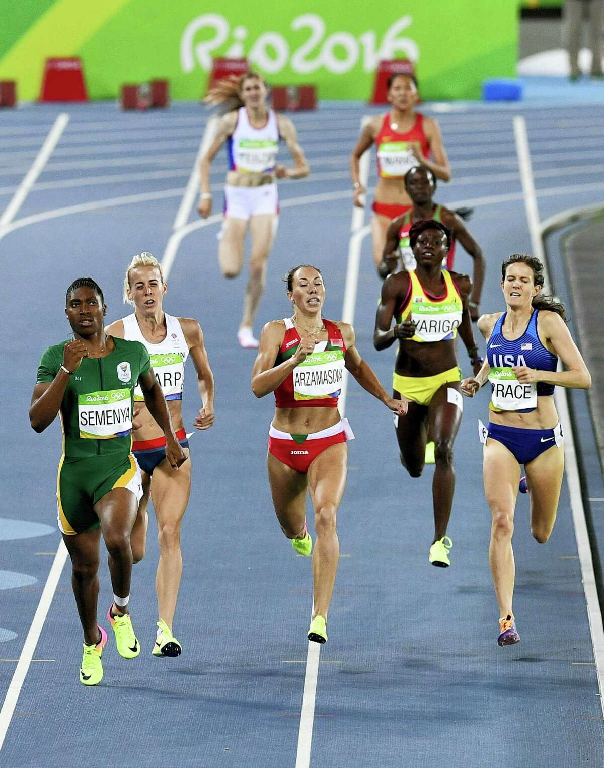 South Africa's Caster Semenya, left, Britain's Lynsey Sharp, second left, Belarus' Marina Arzamasova, center, and United States' Kate Grace, right, compete in a women's 800-meter semifinal on Thursday.