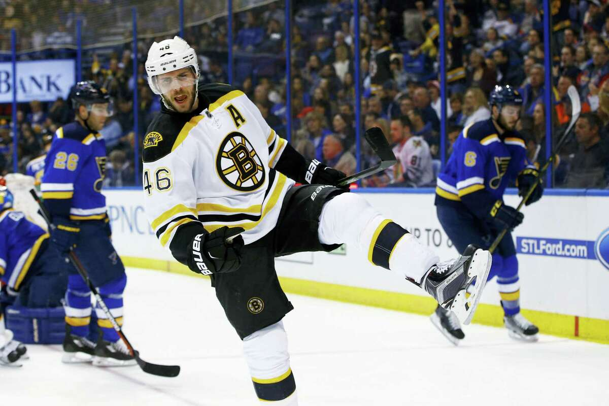 The Bruins' David Krejci celebrates after scoring a goal during the first period on Friday.