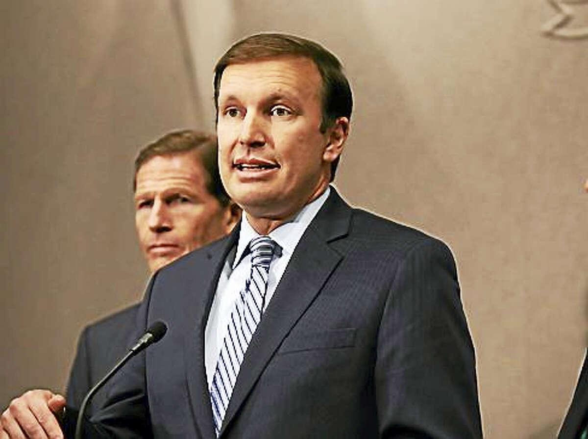 U.S. Sens. Chris Murphy, front, and Richard Blumenthal. Murphy wants Trump to release his tax returns.