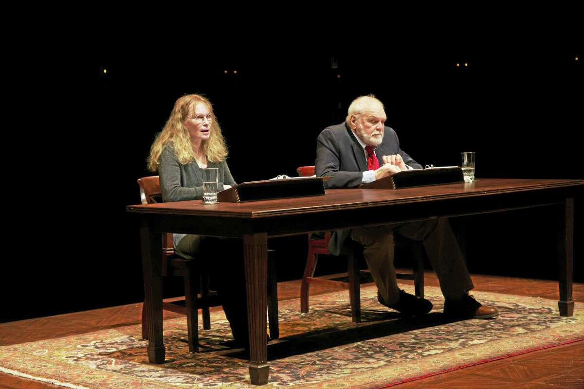 """Mia Farrow and Brian Dennehy in """"Love Letters."""""""