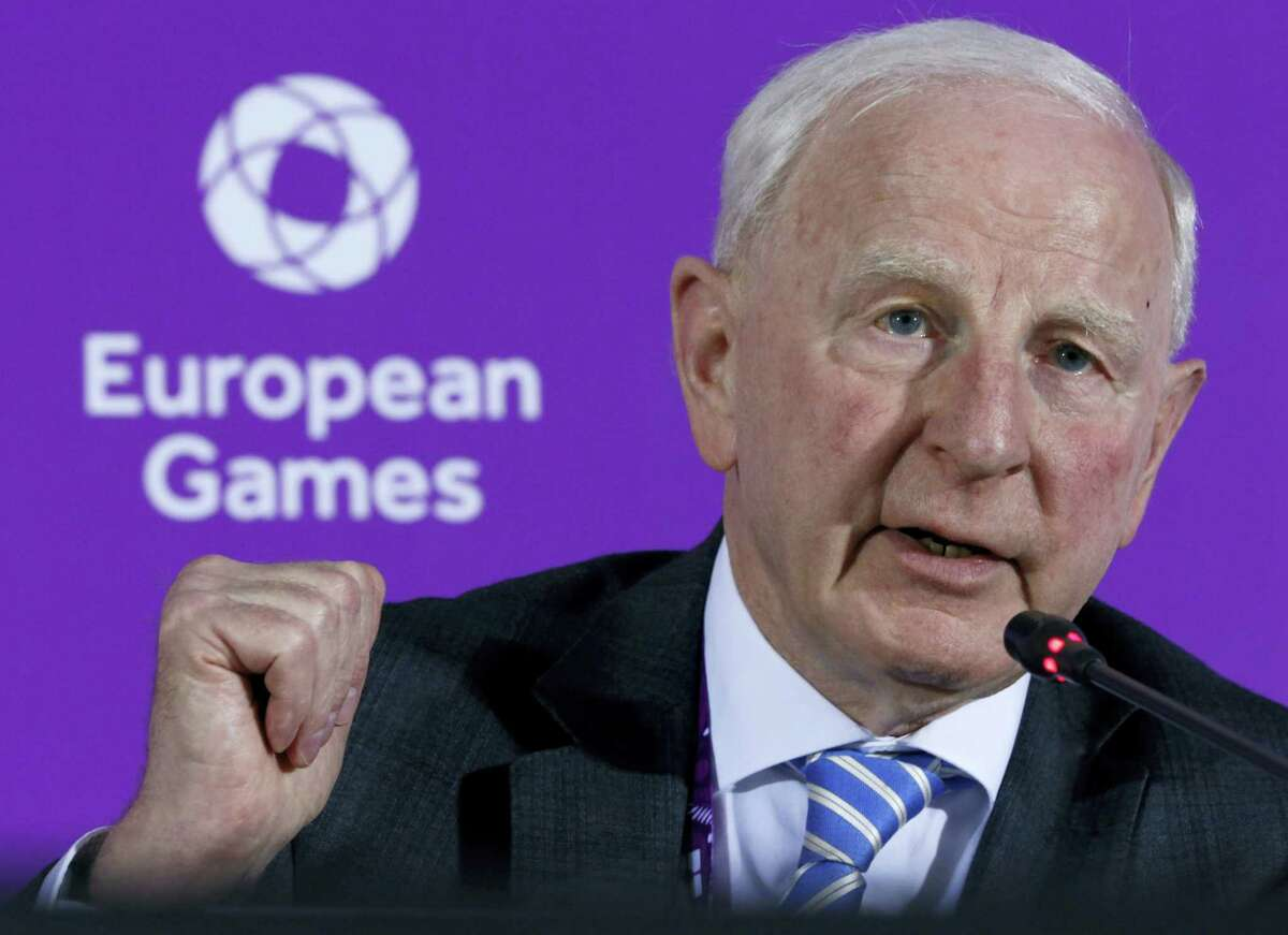 In this June 11, 2015 photo, Patrick Hickey, the head of the European Olympic Committee speaks during a news conference on the eve of the opening of the 2015 European Games in Baku, Azerbaijan. Rio de Janeiro authorities have issued an arrest warrant for Hickey accused of scalping tickets for the Summer Games.