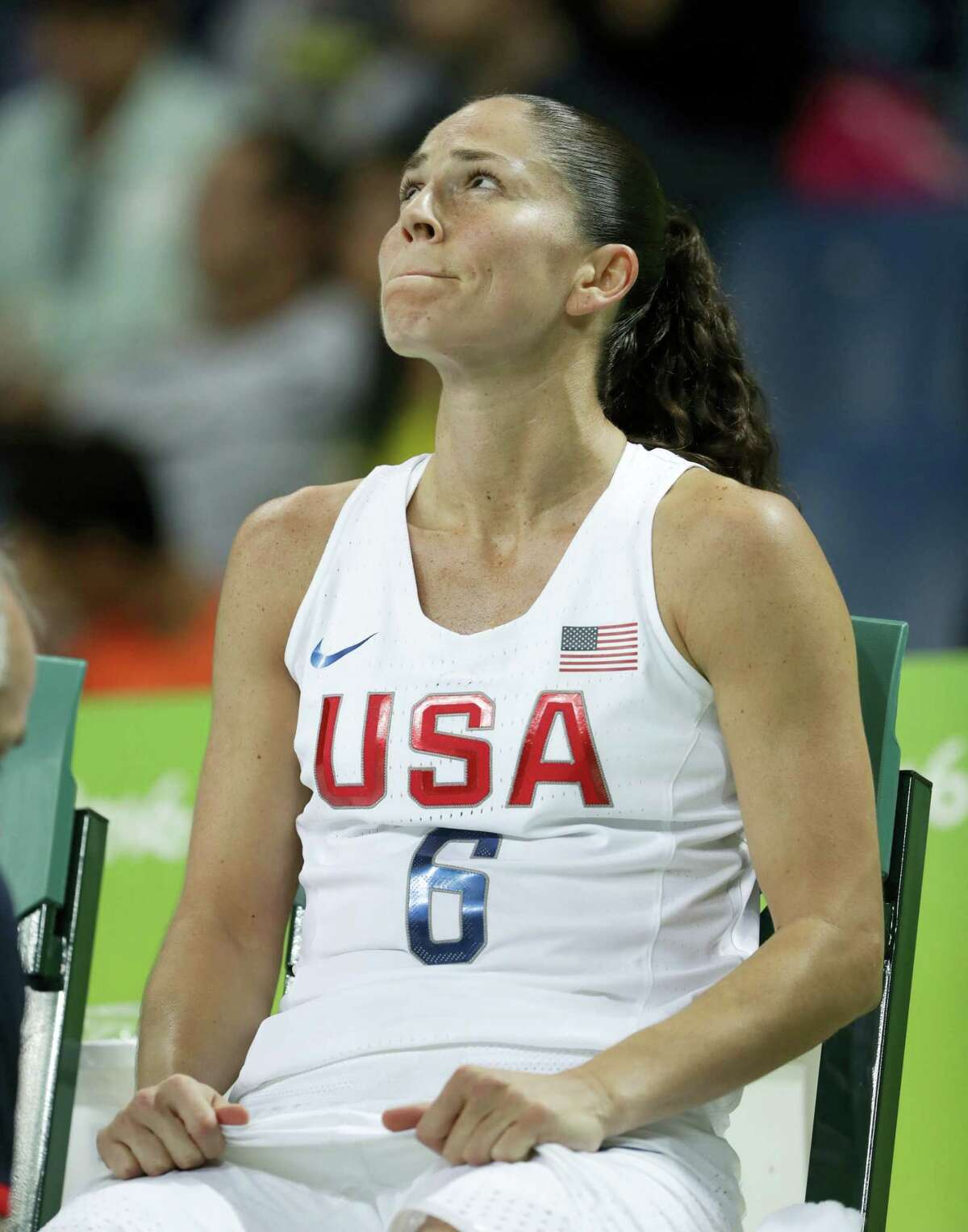 United States' Sue Bird sits on the bench after a fall during a women's quarterfinal round basketball game against Japan at the 2016 Summer Olympics in Rio de Janeiro, Brazil, Tuesday, Aug. 16, 2016.