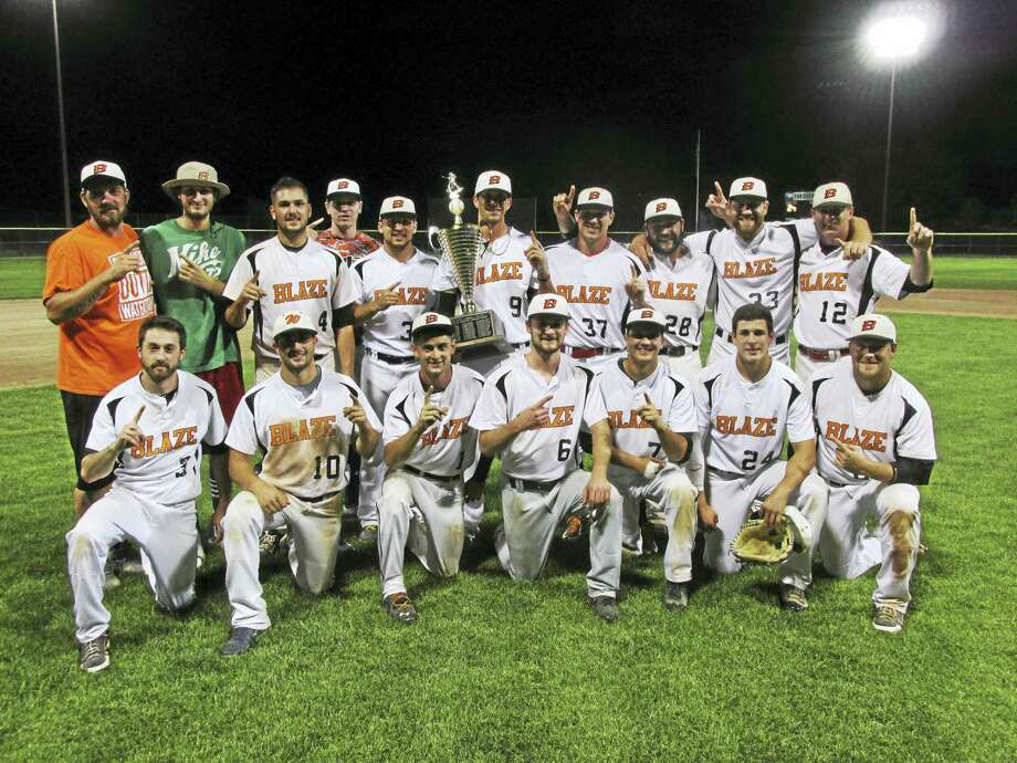 The Watertown Blaze won its first Tri-State Baseball League crown in a best-of-three championship series third game against Naugatuck on Wednesday night at Fuessenich Park. Photo: Photo By Peter Wallace