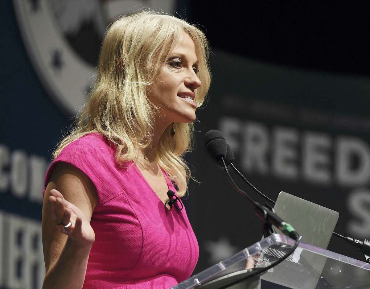 In this May 9, 2015 photo, Kellyanne Conway speaks at the Freedom Summit, in Greenville, S.C. Republican Donald Trump announced a shakeup of his campaign leadership Wednesday, Aug. 17, 2016. Trump promoted pollster Kellyanne Conway to campaign manager.